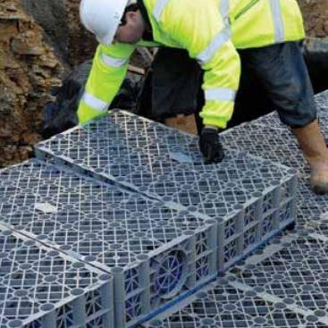 Soakaway crates being installed