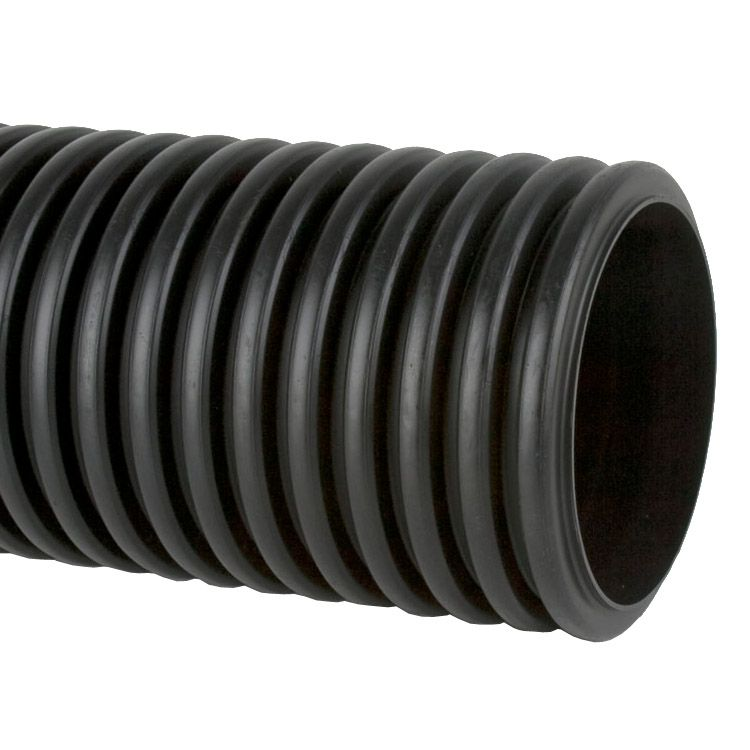 Perforated twinwall surface water drain pipe 6m 150mm for Plumbing drain pipe