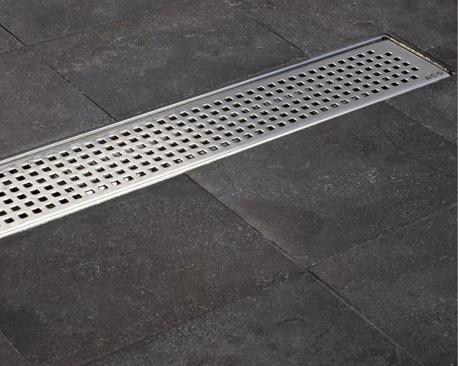 Aco Tiled Flooring Shower Drainage Channel Quadrato