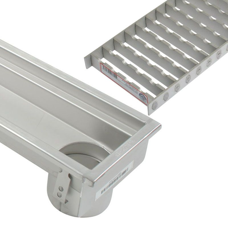 Industrial Linear Channel Drain 1500mm For Concrete Floor End Outlet.