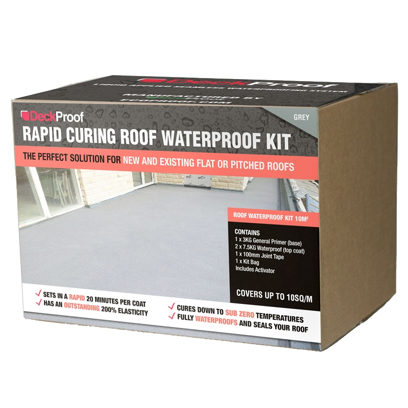 Waterproofing roofing balcony kit rapid curing grey for Piscine 10m2 kit