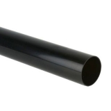 Plastic Guttering Round Style Downpipe 2.5m Length 68mm - Black