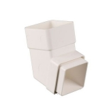 Plastic Guttering Square Downpipe 112.5 Degree Offset Bend 65mm White