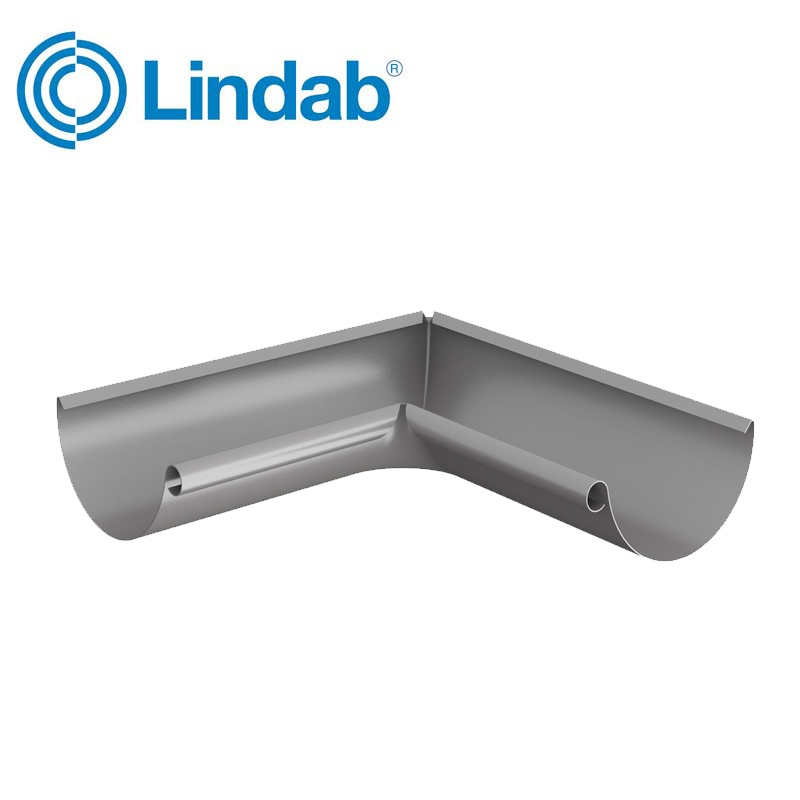 Lindab Half Round 90dg Inner Gutter Angle 100mm Painted Anthracite