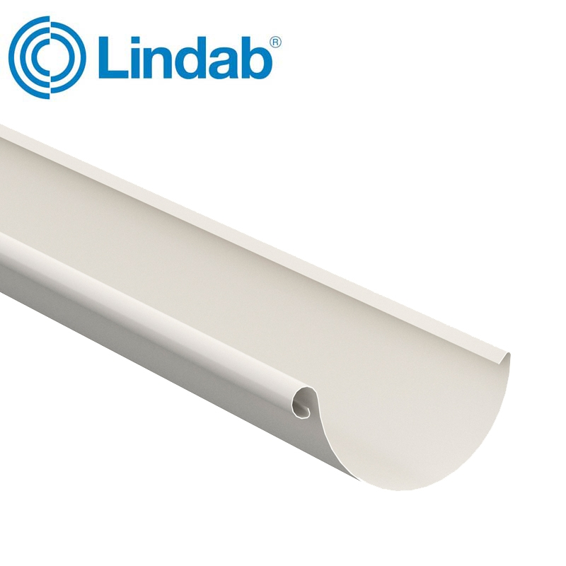 Lindab Steel Half Round Guttering 150mm x 3m Painted Antique White