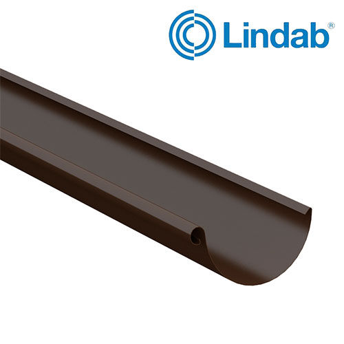 Lindab Steel Half Round Guttering 125mm x 3m Painted Brown