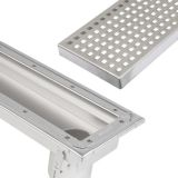 Commercial Linear Channel Drain 1000mm for Sheet Floor - End Outlet