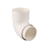 Plastic Guttering Round Style Downpipe 92.5 Degree Bend 68mm - White