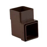 Plastic Guttering Square Downpipe 92.5 Degree Bend 65mm - Brown