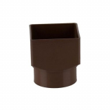 Plastic Guttering Square Downpipe to Round Adaptor 65mm - Brown
