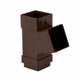 Plastic Guttering Square Downpipe 112.5 Degree Branch 65mm - Brown