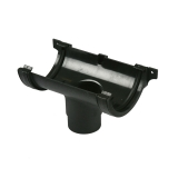 Cast Iron Style Half Round Guttering 112mm Running Outlet - Black