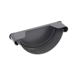 Steel Half Round Guttering Stop End 125mm Grey - Cyclone