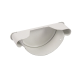 Steel Half Round Guttering Stop End 125mm White - Cyclone