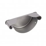 Steel Half Round Guttering Stop End 100mm Silver Metallic - Cyclone