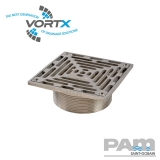 Stainless Steel 150x150mm Gully Grating NPSM Threaded Fit - Vortx